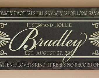 Custom Marriage Panel Sign on Canvas
