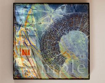Burning Man Art Block Print