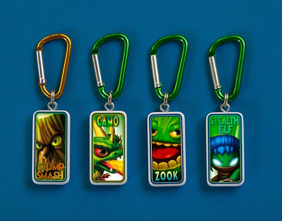Skylanders Zook, Camo, Stealth Elf, Stump Smash Key Chains - Choose One