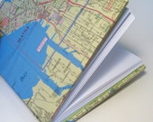 Recycled Map of Seattle, Coptic Stitched Journal or Sketchbook
