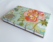 Coptic Stitched Journal, Notebook with Bright Spring Flowers