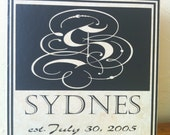 Personalized Tile with vinyl, 12x12, custom made with name, initial, and wedding date