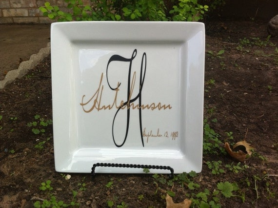 Personalized plate with last name monogram and last name overlayed