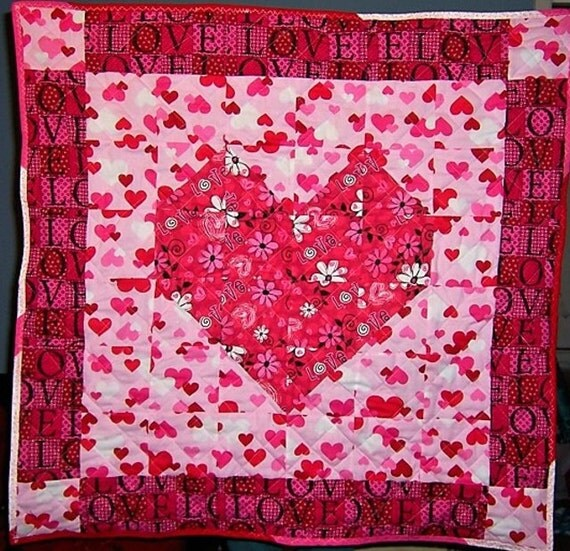 Reversible Small Quilt Valentine's Floral Spring