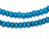 Turquoise White Heart Beads - African Trade Beads - Ghana Glass Beads (WHT-TRQ-LARGE-202)