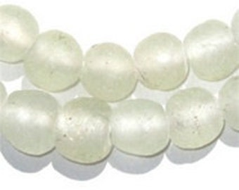 Clear Recycled Glass Beads from Ghana, 50 Beads each (RCY-RND-CLR-507)