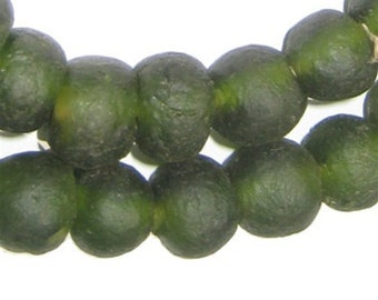 Forest Green Recycled Glass Beads from Ghana, 50 Beads (RCY-RND-GRN-513)