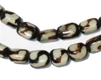 "Swirl Batik Bone African Trade Beads from Kenya, 26"" Strand (BON-CYL-SWRL-209)"