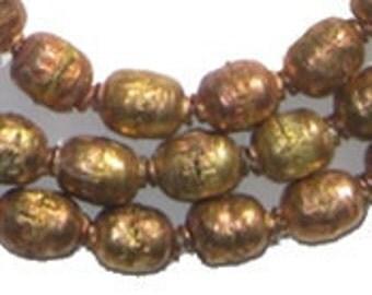 Ethiopian Prayer Beads - Brass Copper, Full Strand (MET-OVL-CPR-202)