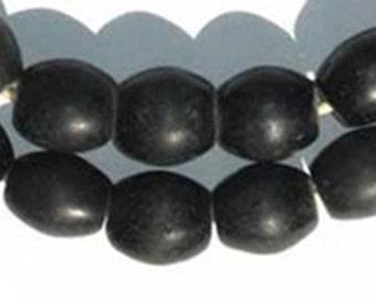 "African Trade Beads - Black Bohemian Colodonte, 27"" Strand (CZEC-OVL-BLK-202)"
