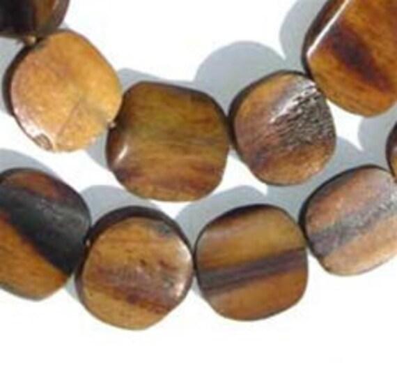Circular Kenya Brown Bone African Trade Beads, 30 Beads (BON-FLT-BRN-231)