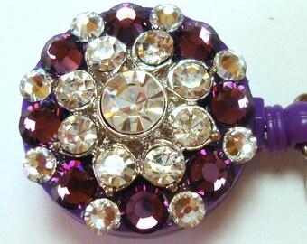 Purple and Clear Rhinestone and Swarovski Crystal Embellished ID Badge Retractable Name Tag Reel