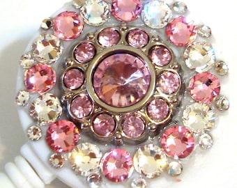Light Rose Pink Rhinestone Button and Swarovski Crystal Embellished Swivel-Back ID Badge Reel