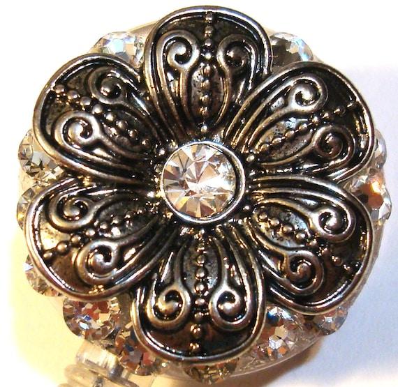 Silver Metal Flower and Swarovski Crystal Embellished ID Badge Reel