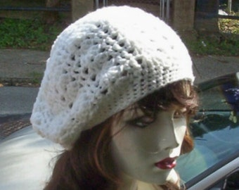 Hand Crochet Summer Slouchy Hat - White - Ready 2 Ship - Free Us Shipping