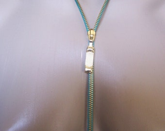 ZIPPER NECKLACE, OCEAN BREEZE