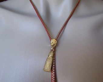 Zipper Necklace That Zips, Red & Gold Tone