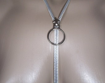 Zipper Necklace That Zips, White And Silver