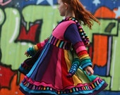 """DEPOSIT ONLY Girls Pixie Coat.  """"Over The Rainbow""""  Custom made sizes T2, 3, 4, 5, 6, 7, 8 Upcycled Sweater Couture"""