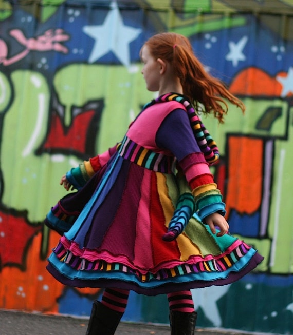 "DEPOSIT ONLY Girls Pixie Coat.  ""Over The Rainbow""  Custom made sizes T2, 3, 4, 5, 6, 7, 8 Upcycled Sweater Couture"