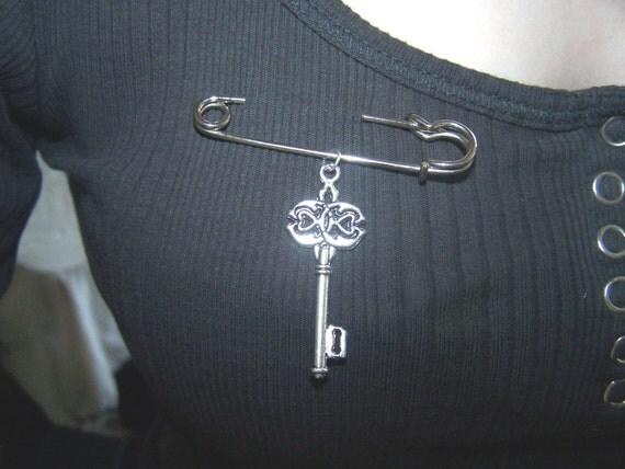 Antique Key Pin Brooch