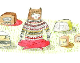 Art Print. 'Mostly I Like Listening To My Radios'. Illustration.