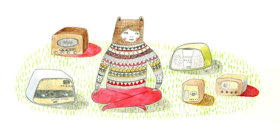Art Print. 'Mostly I Like Listening To My Radios'. Illustration.