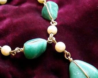 Vintage Jade with pearl 14k wire braclet
