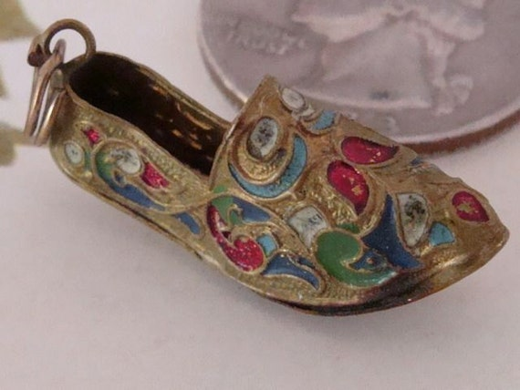 Miniature Shoe Pendant -  Enamel Over Brass