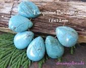Natural Turquoise Briolettes Gemstones, 6PC Tear Drop,