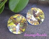 6 pc Swarovski Crystallized 12mm Clear AB Stone Pendants