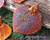 One Iridescent Copper Dipped Aspen Leaf Pendant Bestseller