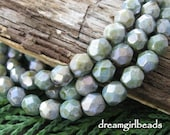 Luster Green Faceted Firepolished 6mm Czech Glass Beads