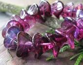 African Violet Ab 3 Petal Czech Glass Beads
