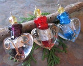 1 PC Murano Style Glass Heart Bottle Pendant, Your Color Choice
