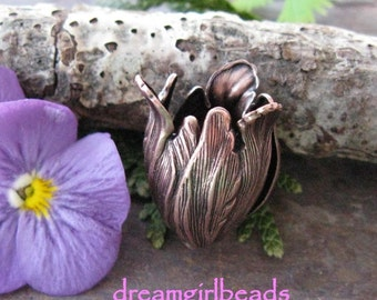 2 Antique Copper Blooming Tulips