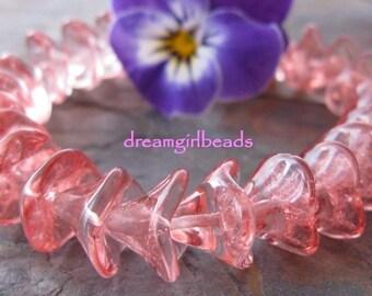 Misty Rose 3 Petal Czech Glass Flowers