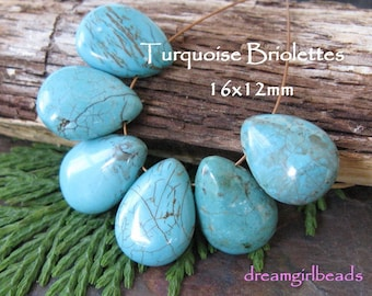 Natural Turquoise Briolettes Gemstones, 6PC Tear Drop,