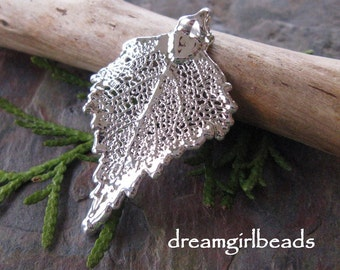 1 Real Silver Dipped Birch Leaf Pendant Ornament Bestseller