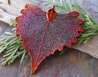 Iridescent Copper Cottonwood Leaf Pendant Ornament