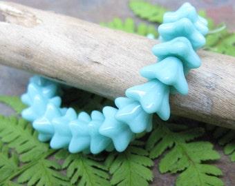 Vintage Turquoise 5 Petal Czech Glass Flower Beads