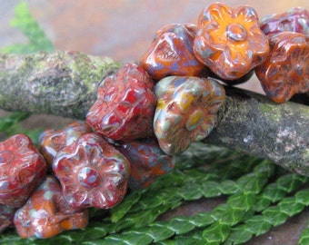 Desert Blooms Color Mix Button Flower Czech Glass Beads