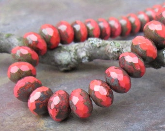 Cherry Coral Faceted 6x8mm Beads
