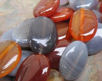Gray and Red Carnelian Semi Precious Ovals