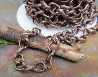1FT Big and Chunky Antique Copper Twist and Jive Chain