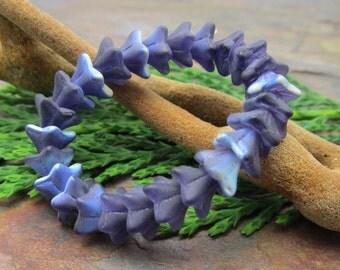 Matte Blue AB Bell Flowers