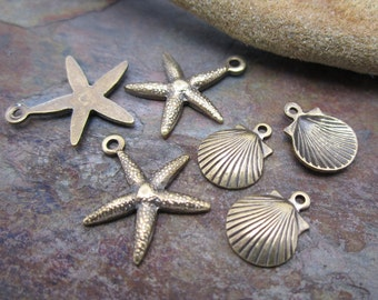 4 PC Antique Brass Star Fish and Shell Charms