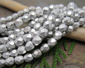Metallic Bright Silver Faceted Firepolished 4mm Beads