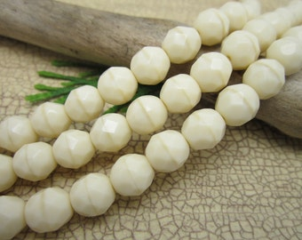 6mm Vintage Ivory Czech Glass Firepolished Faceted Round Beads