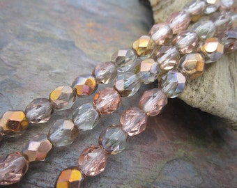 Copper Crystal Ice AB Faceted Firepolished 6mm Czech Glass Beads